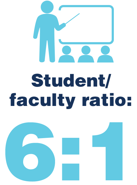 Student to faculty ratio: 6:1