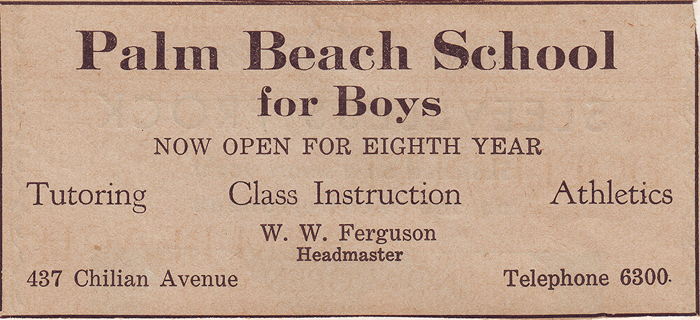 A Palm Beach School for Boys advertisement in 1921